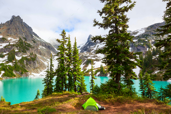 Tent in the mountains - Stock Photo - Images