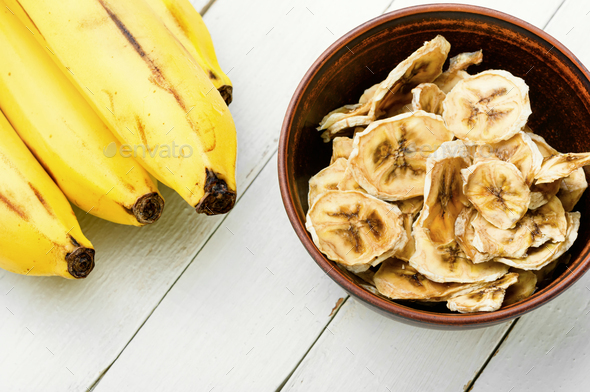 Dried banana slices - Stock Photo - Images