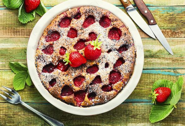 Baked strawberry tart pie - Stock Photo - Images