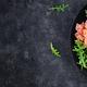 Salt salmon salad with boiled shrimps, prawns, tomatoes, cucumbers, arugula, eggs and avocado - PhotoDune Item for Sale