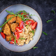 Boiled bulgur, roasted chicken nuggets and fresh tomatoes salad - PhotoDune Item for Sale