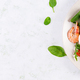 Salt salmon salad with boiled shrimps, prawns, tomatoes, spinach, eggs and avocado - PhotoDune Item for Sale