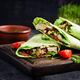 Fresh tortilla wraps with chicken and fresh vegetables on wooden board - PhotoDune Item for Sale