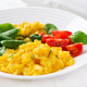 Breakfast. Scrambled eggs with cherry tomatoes, spinach  and corn. - PhotoDune Item for Sale