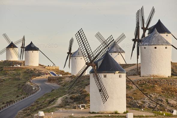 Traditional antique windmills in Spain. Consuegra, Toledo. Picturesque - Stock Photo - Images