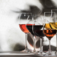Wines assortment. Red, white, rose wine in wineglasses on gray background. Wine tasting concept - PhotoDune Item for Sale