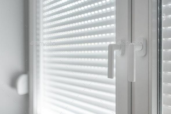 White PVC window handles, selective focus - Stock Photo - Images