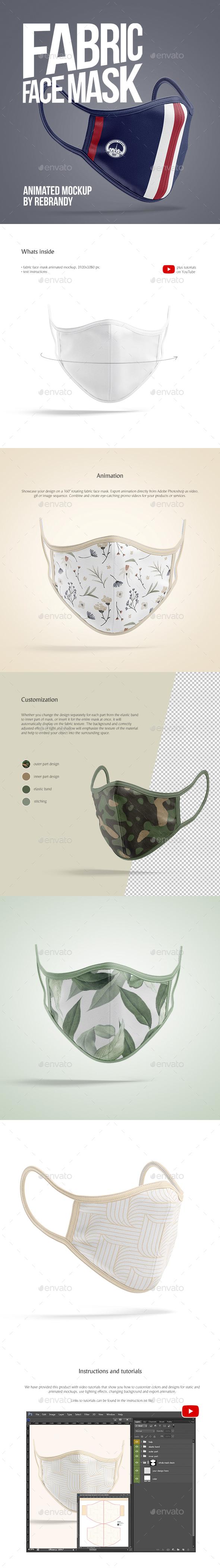 Fabric Face Mask Animated Mockup