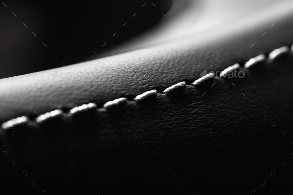 Automotive Leather Stitches Close Up - Stock Photo - Images