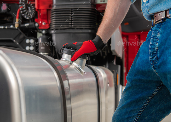 Truck Side Mounted Diesel Fuel Tanks - Stock Photo - Images
