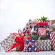 Christmas gift boxes on blue bokeh background - PhotoDune Item for Sale