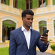 Portrait of African businessman outdoors wearing suit and using mobile phone - PhotoDune Item for Sale