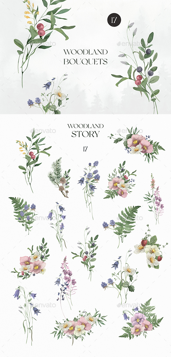 Watercolor Woodland Bouquets