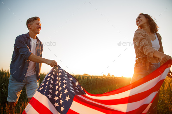4th of July. USA independence day celebrating with national American flag - Stock Photo - Images