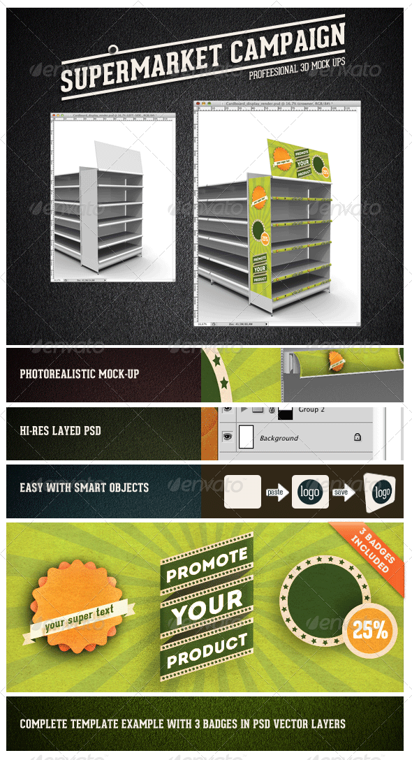 Supermarket Campaign Mock-up - Miscellaneous Displays