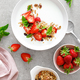 Strawberry granola with greek yogurt, nuts and fresh berries for breakfast, top view - PhotoDune Item for Sale