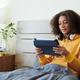 Modern Girl Reading Article on Tablet - PhotoDune Item for Sale