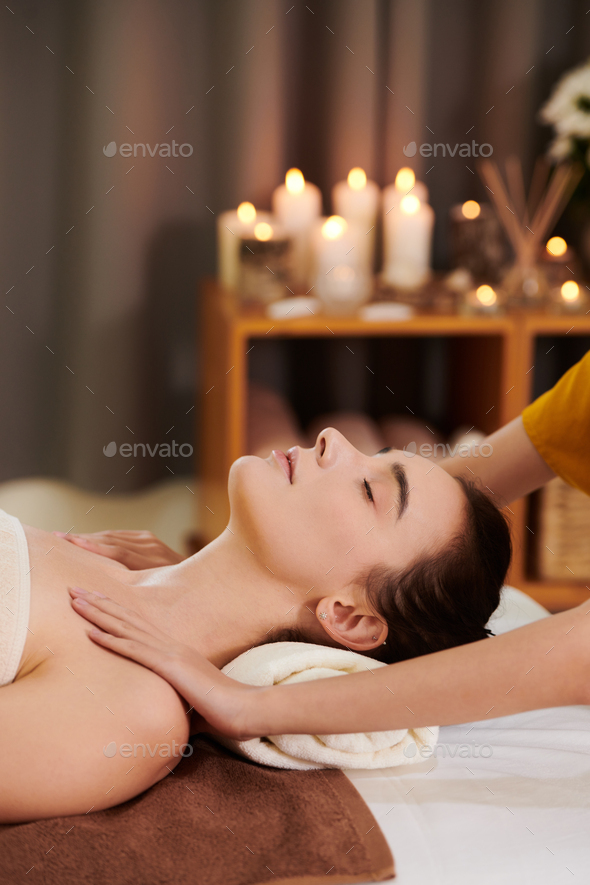 Girl getting spa massage - Stock Photo - Images