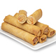 Plate with deep fried Vietnamese egg rolls and halved ones on white background - PhotoDune Item for Sale