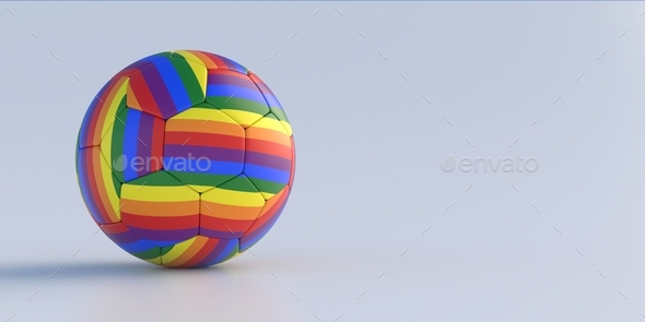 Rainbow flag football soccer ball isolated on white background. 3d illustration - Stock Photo - Images