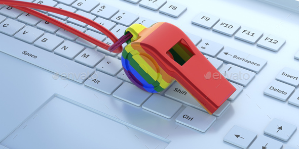 Gay pride rainbow flag whistle on white computer background. 3d illustration - Stock Photo - Images