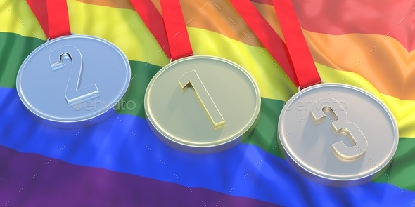 Medals gold, silver and bronze on LGBT flag. 3d illustration - Stock Photo - Images
