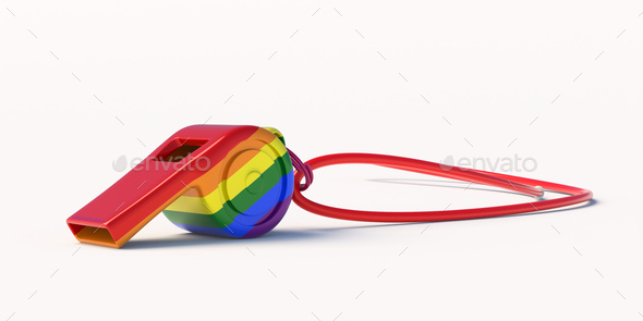 Gay pride rainbow flag whistle isolated on white background. 3d illustration - Stock Photo - Images