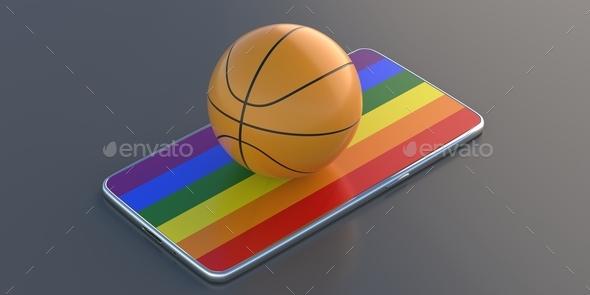 Basketball ball on rainbow flag display smartphone isolated on black background. 3d illustration - Stock Photo - Images