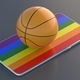 Basketball ball on rainbow flag display smartphone isolated on black background. 3d illustration - PhotoDune Item for Sale