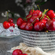 bowl with red cherries food background - PhotoDune Item for Sale
