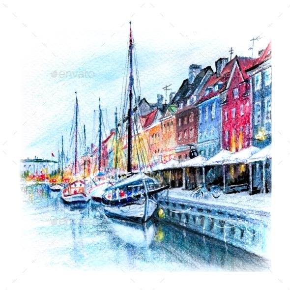 Watercolor Pencils Sketch of Nyhavn Copenhagen