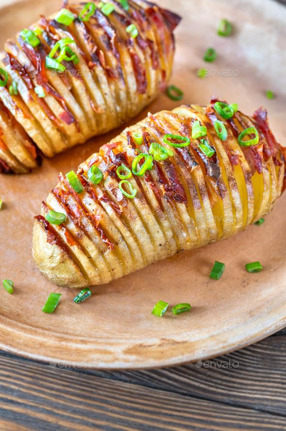 Hasselback potatoes - Stock Photo - Images