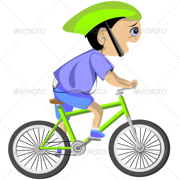Boy cycling - Characters Vectors