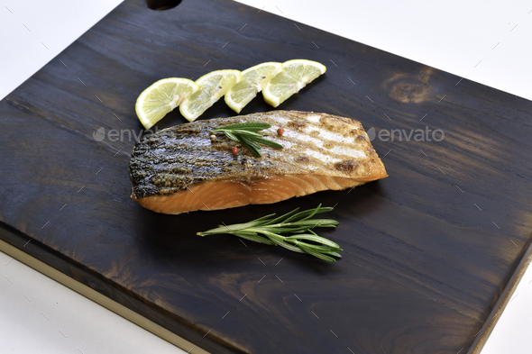 Grilled salmon steak - Stock Photo - Images