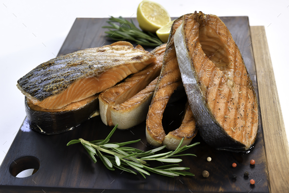 Grilled salmon steaks - Stock Photo - Images