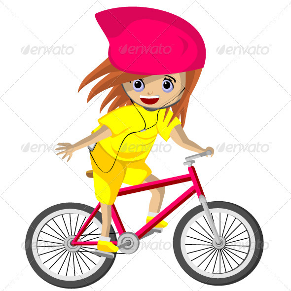 Girl cycling - Characters Vectors