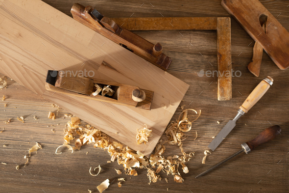 Woodworking tools on wooden table. Wood working or joiner tool - Stock Photo - Images