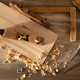 Woodworking tools on wooden table. Wood working or joiner tool - PhotoDune Item for Sale