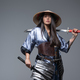 Asian woman with bamboo hat and katana - PhotoDune Item for Sale