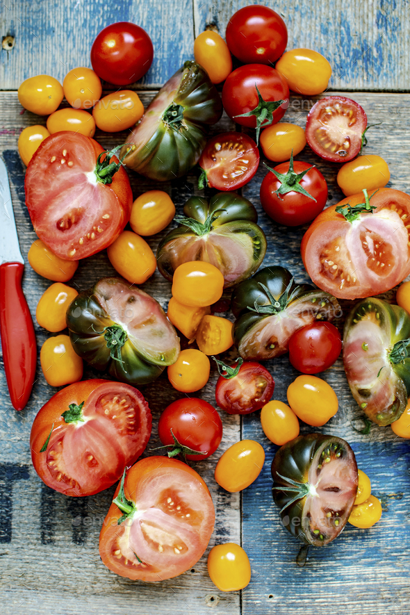 Various fresh tomatoes aerial view - Stock Photo - Images