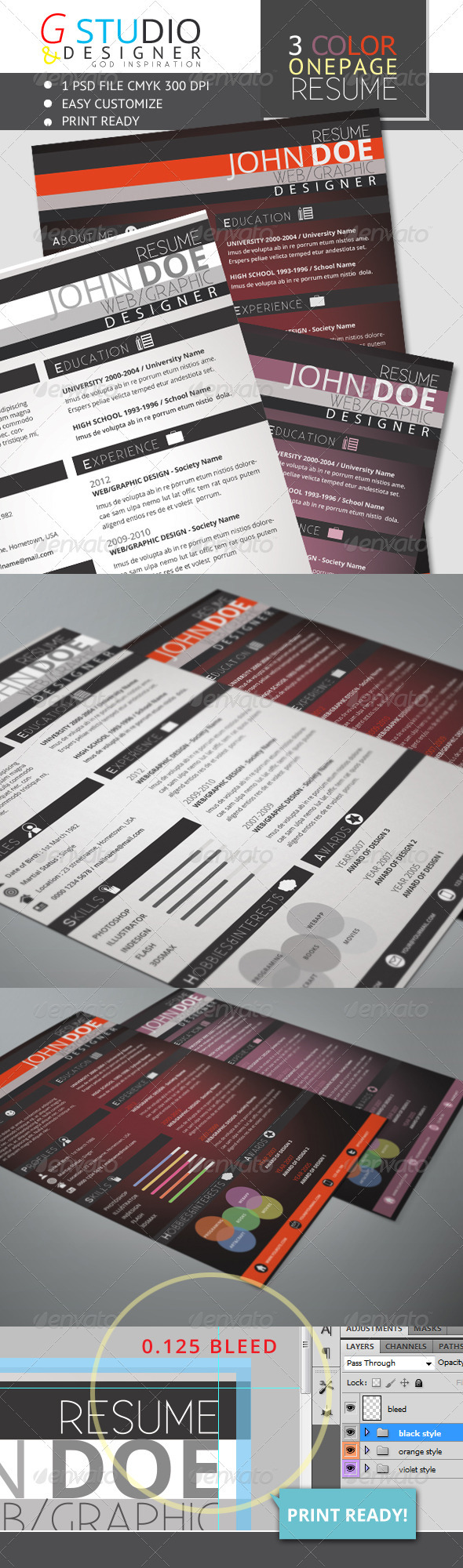 Gstudio 3 Color One Page Resume - Resumes Stationery