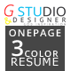 Gstudio 3 Color One Page Resume - GraphicRiver Item for Sale