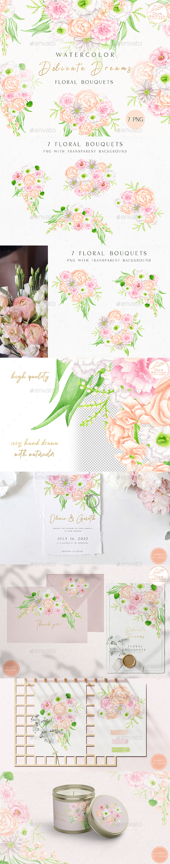 Watercolor Bouquets Clipart. Blush Wedding Flowers PNG