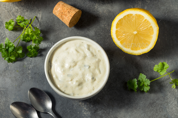 Homemade Creamy Tartar Sauce - Stock Photo - Images