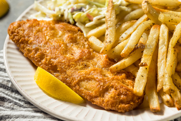 Homemade Fried Fish Dinner - Stock Photo - Images