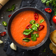 Tomato soup at black table top view - PhotoDune Item for Sale