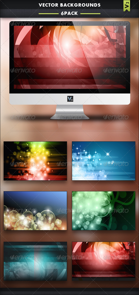 6 Pack - Vector Backgrounds V2 - Backgrounds Decorative