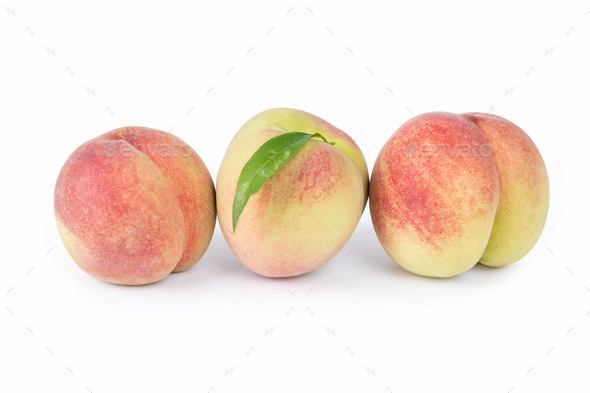 peaches isolated on white - Stock Photo - Images