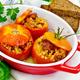 Tomatoes stuffed with bulgur in pan on board - PhotoDune Item for Sale