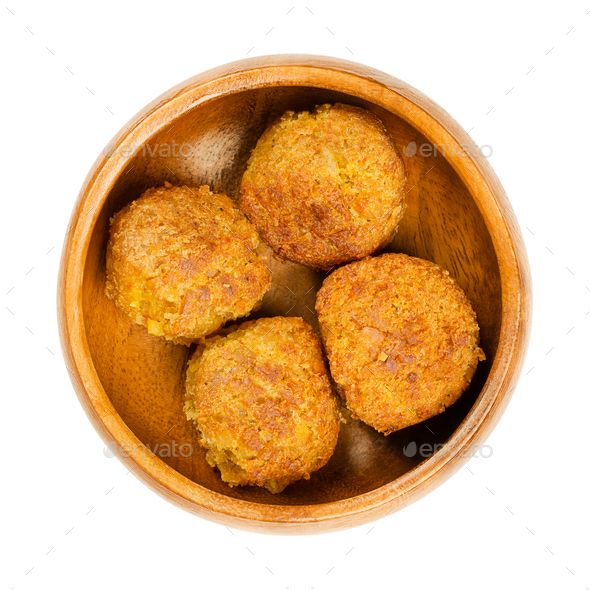 Fried vegan falafel balls, chickpea fritters in wooden bowl - Stock Photo - Images